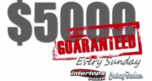 Sunday $5,000 GTD is back at Intertops Poker and Juicy Stakes